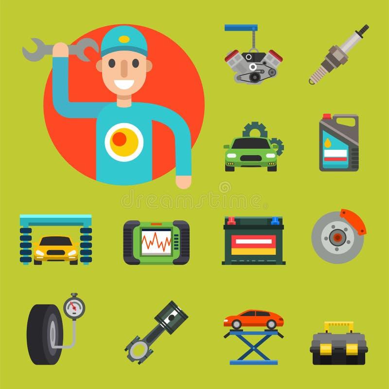 Os auto símbolos do serviço de reparações do carro isolaram a ilustração automotivo do vetor do mecânico do transporte da manuten ilustração royalty free