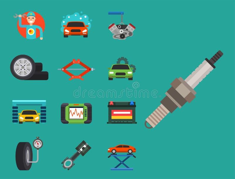 Os auto símbolos do serviço de reparações do carro isolaram a ilustração automotivo do vetor do mecânico do transporte da manuten ilustração do vetor