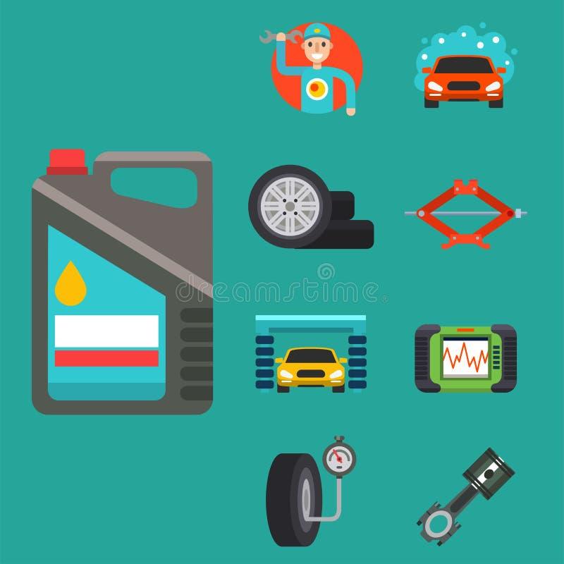 Os auto símbolos do serviço de reparações do carro isolaram a ilustração automotivo do vetor do mecânico do transporte da manuten ilustração stock