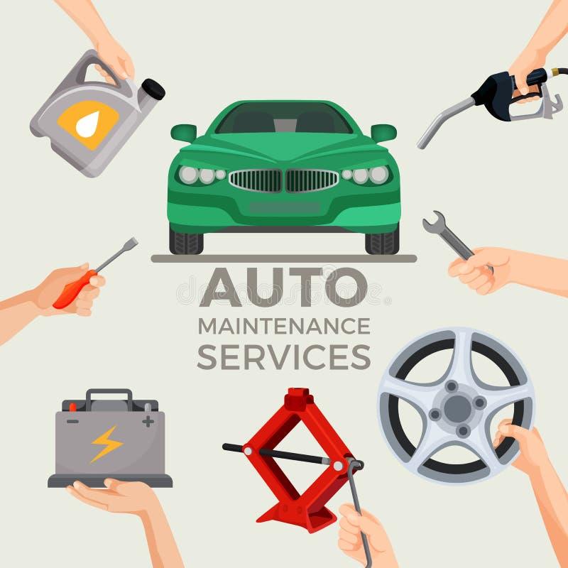 Os auto serviços de manutenção ajustaram-se com o carro verde no centro da imagem ilustração do vetor