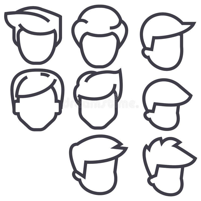 Os avatars dos homens dos cabelos vector a linha ícone, sinal, ilustração no fundo, cursos editáveis ilustração royalty free