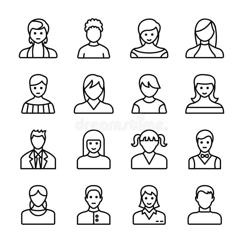 Os Avatars humanos alinham ícones ilustração do vetor