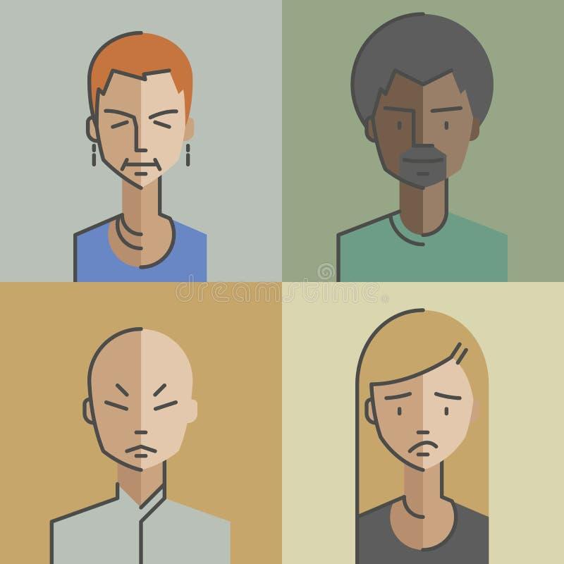 Os avatars masculinos e da fêmea das caras ajustaram 05 ilustração do vetor