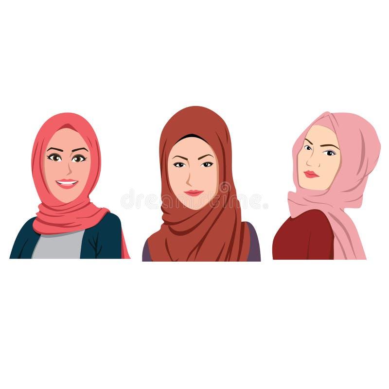 Os Avatars muçulmanos das meninas ajustaram Hijab tradicional ilustração stock