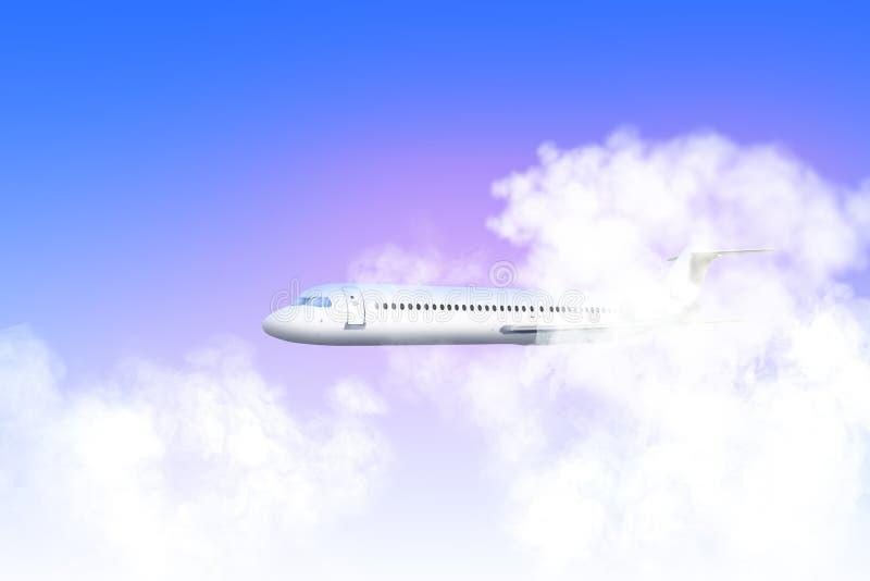 Os aviões de passageiro voam com as zonas da turbulência através das nuvens grossas Os aviões voam com a zona da turbulência imagens de stock