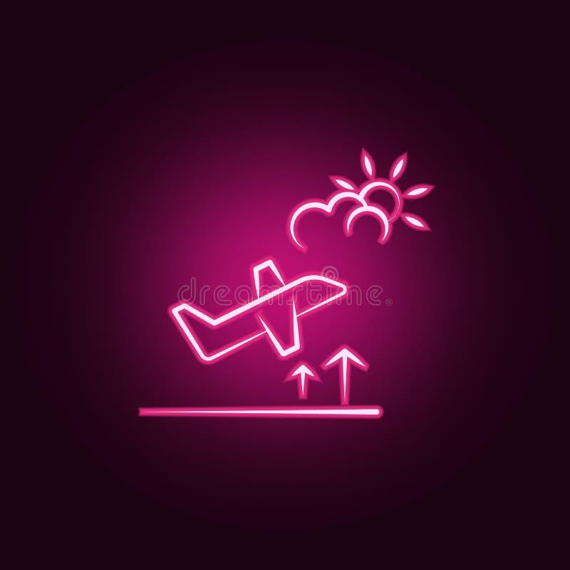 os aviões ficam o ícone de néon Elementos do grupo do curso Ícone simples para Web site, design web, app móvel, gráficos da infor ilustração do vetor