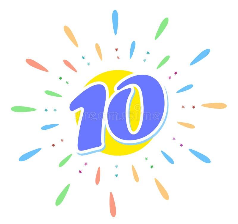 Os 10 azuis no meio dos fogos de artifício Nós de dez anos r ilustração stock