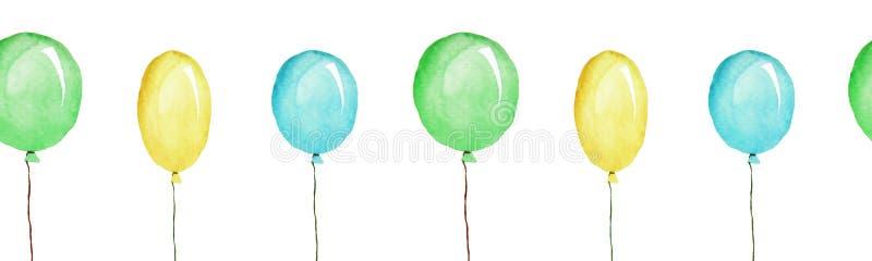 Os balões coloridos, patternn sem emenda, ilustração da aquarela isolaram-se ilustração do vetor