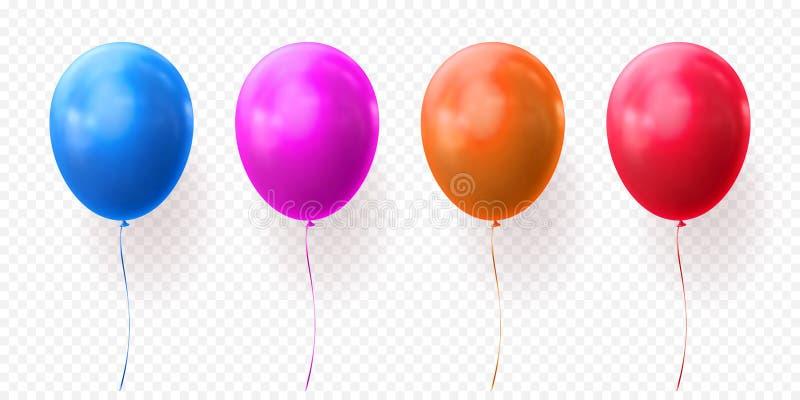 Os balões coloridos vector baloons realísticos lustrosos do fundo transparente para a festa de anos ilustração stock