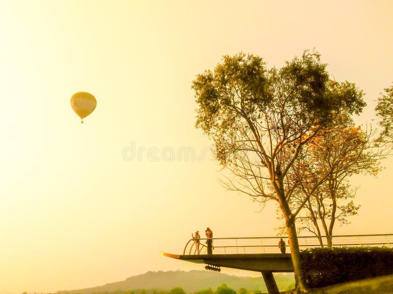 Os balões começam-nos migram sobre o campo e a floresta imagem de stock