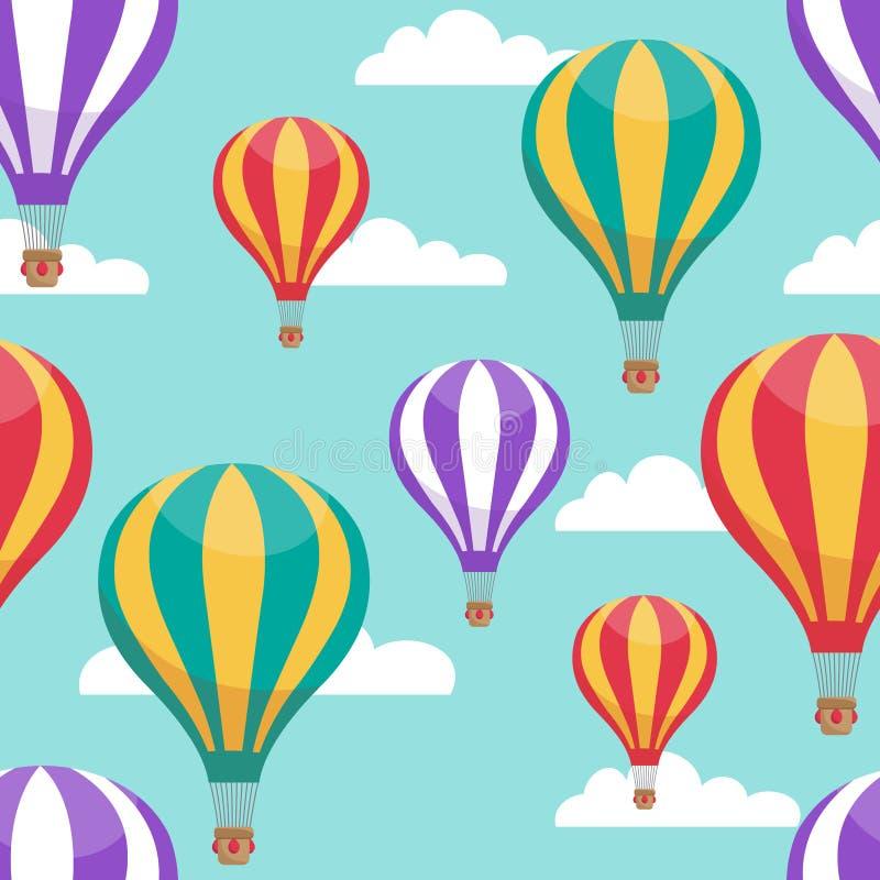 Os balões de ar quente dos desenhos animados no céu azul vector o teste padrão sem emenda para o conceito da viagem aérea ilustração do vetor