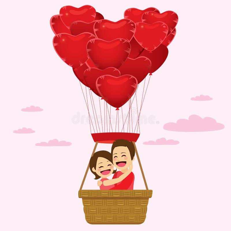 Os balões do coração acoplam-se ilustração do vetor