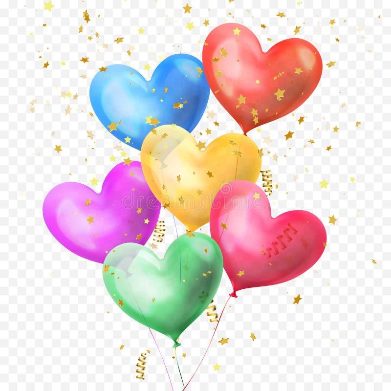 Os balões do coração ajuntam-se e os confetes dourados das estrelas do brilho isolados no fundo transparente para a festa de anos ilustração royalty free