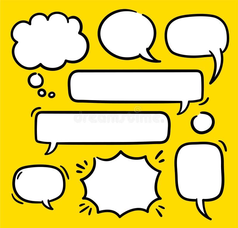 Os balões do texto dos desenhos animados, bolhas do discurso rabiscam o grupo do vetor Formas cômicas da palavra vazia do pensame ilustração stock