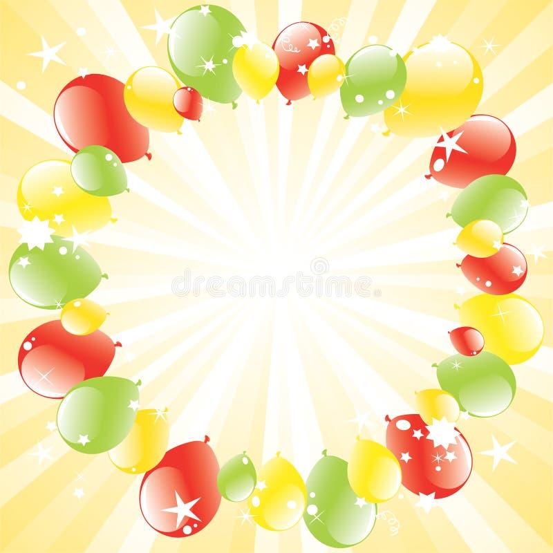 Os balões festivos e luz-estouraram ilustração do vetor