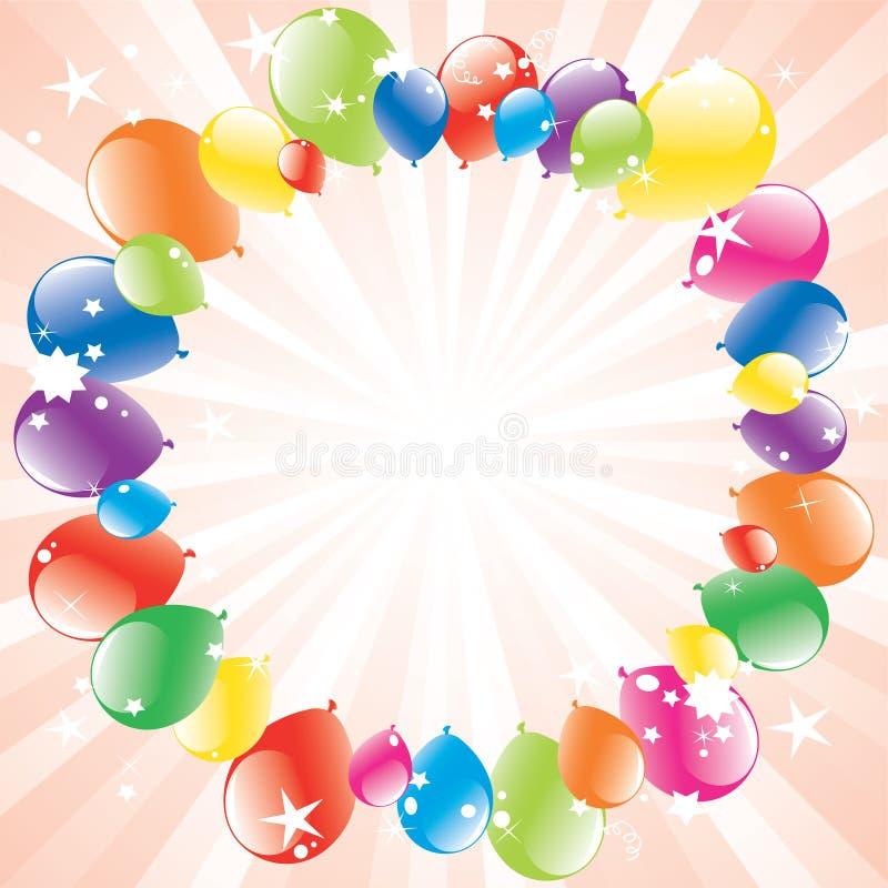 Os balões festivos e luz-estouraram ilustração royalty free