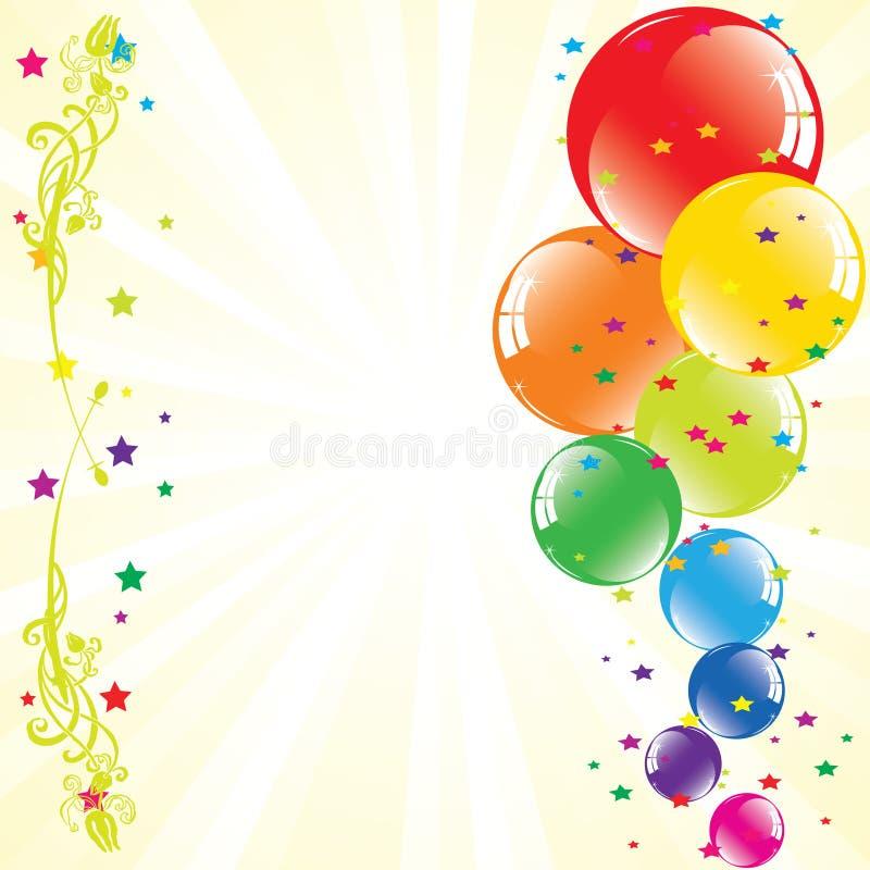 Os balões festivos e luz-estouraram ilustração stock