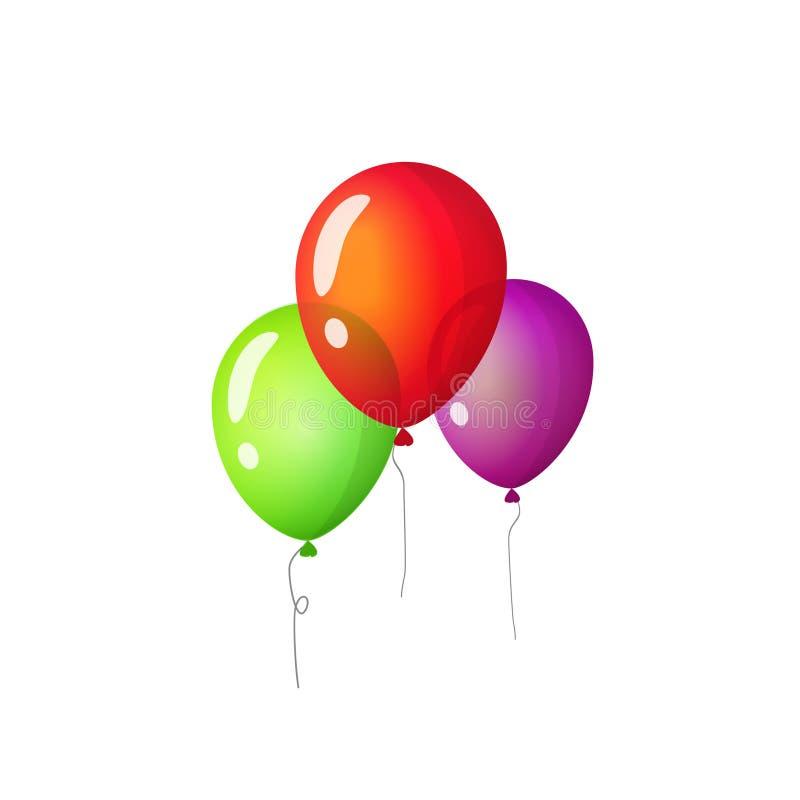Os balões isolaram a ilustração do vetor, voo liso do balão dos desenhos animados três no clipart do ar ilustração do vetor
