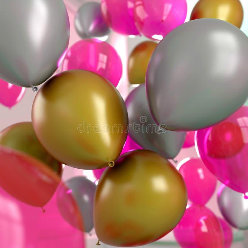 Os balões prateiam o ouro e o rosa foto de stock royalty free