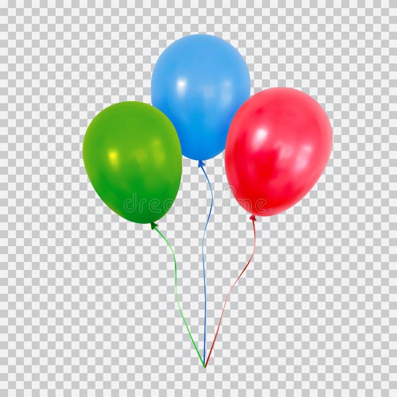 Os balões verdes e azuis vermelhos do hélio ajustaram-se isolado no fundo transparente ilustração do vetor