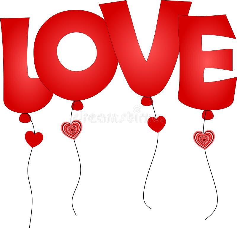 Os ballons vermelhos com rotulação AMAM para o dia do ` s do Valentim ilustração do vetor