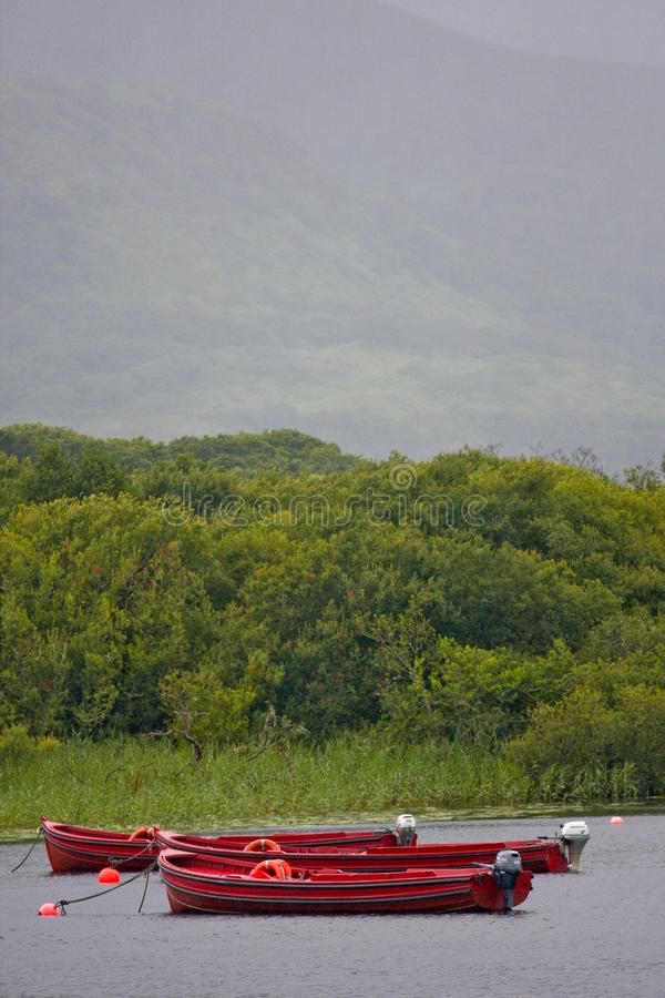 Os barcos amarraram no lago Muckross perto de Killarney, Kerry do condado fotos de stock royalty free