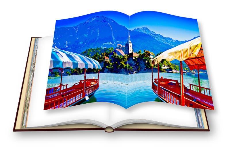 Os barcos de madeira típicos, em Pletna chamado esloveno, no lago sangrado Europa - Eslovênia - a arte tonificaram a imagem com e ilustração stock