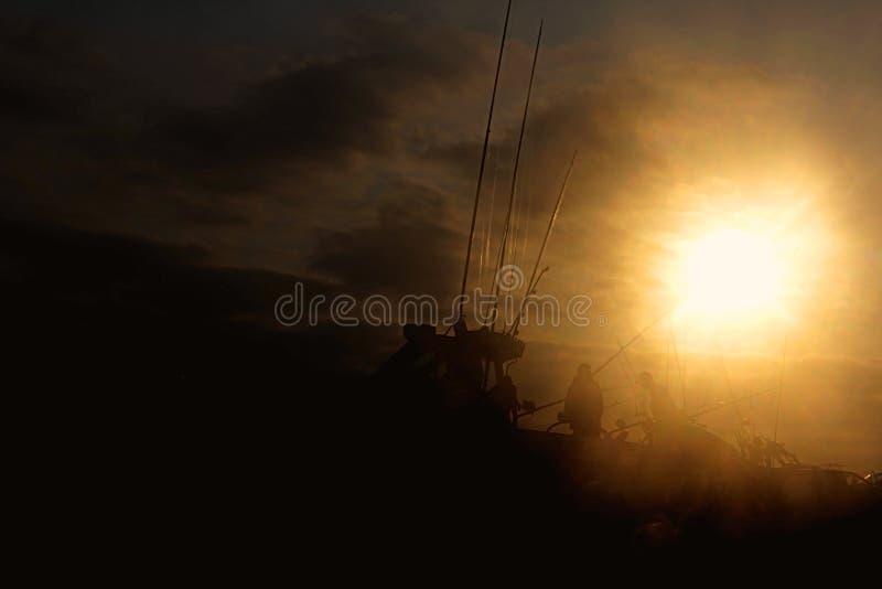 Os barcos do esqui prontos para a competição do peixe agulha em Sodwana latem fotos de stock royalty free