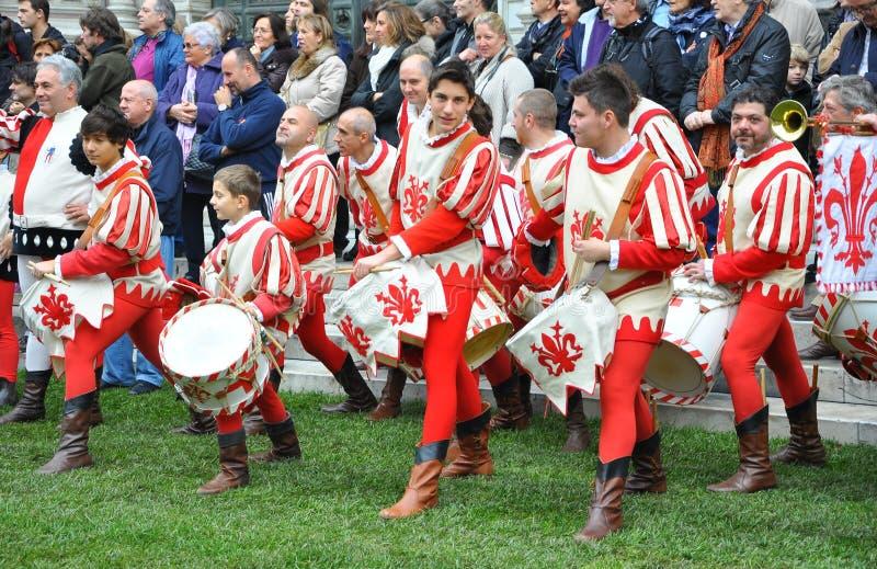 Os bateristas mostram em Florença foto de stock