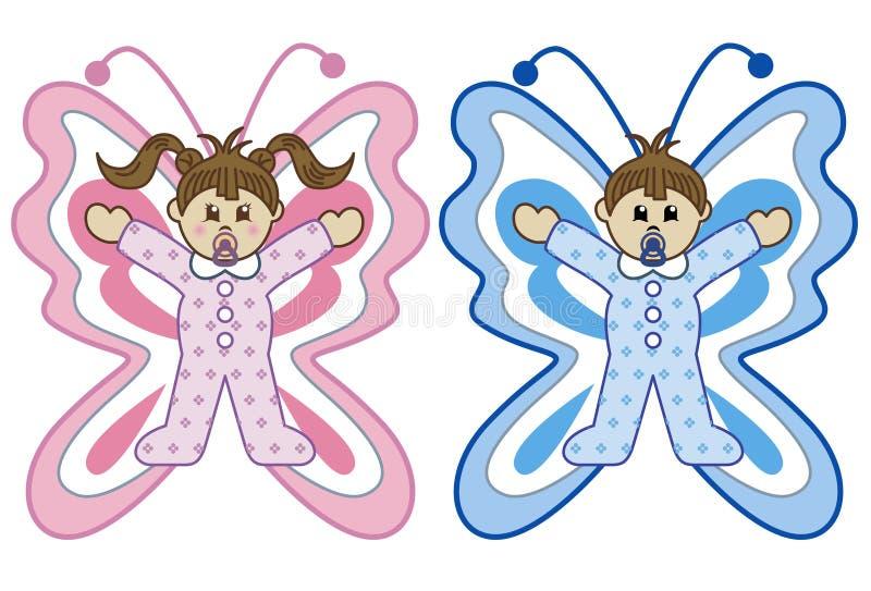 Os bebês na borboleta trajam desenhos animados ilustração stock