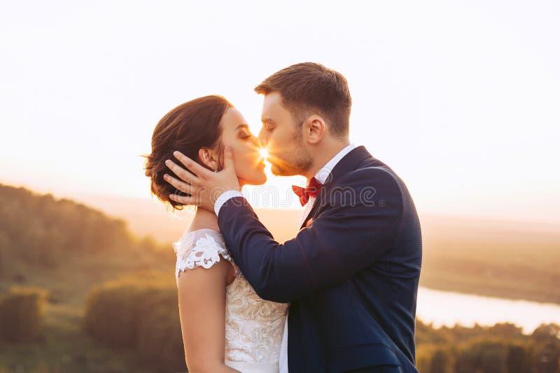 Os beijos do noivo nos lábios de uma noiva nova na natureza imagens de stock royalty free