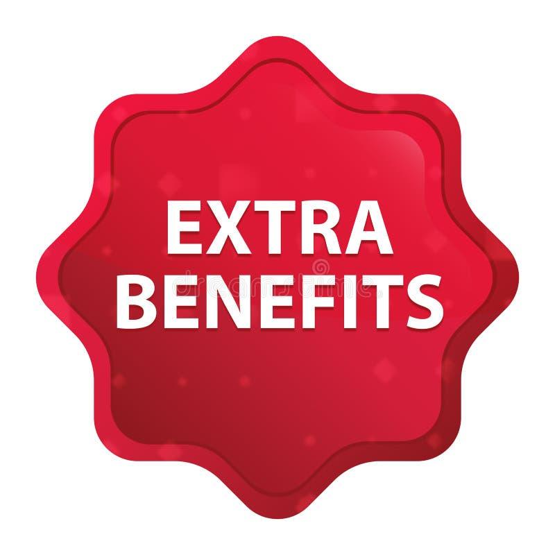 Os benefícios extra enevoados aumentaram botão vermelho da etiqueta do starburst ilustração stock