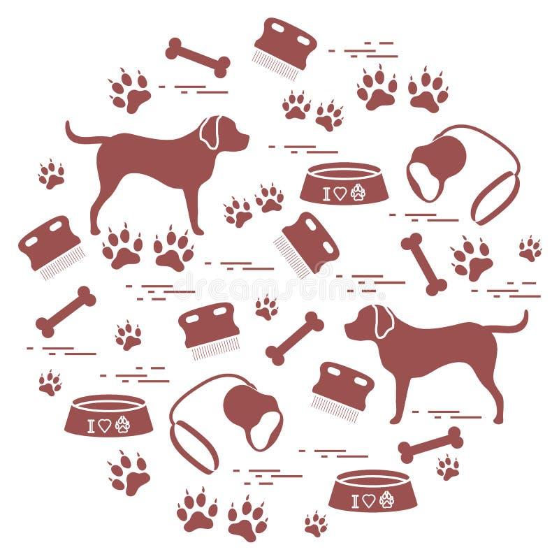 Os bens bonitos da ilustração do vetor a importar-se com cães arranjaram em um ci ilustração royalty free