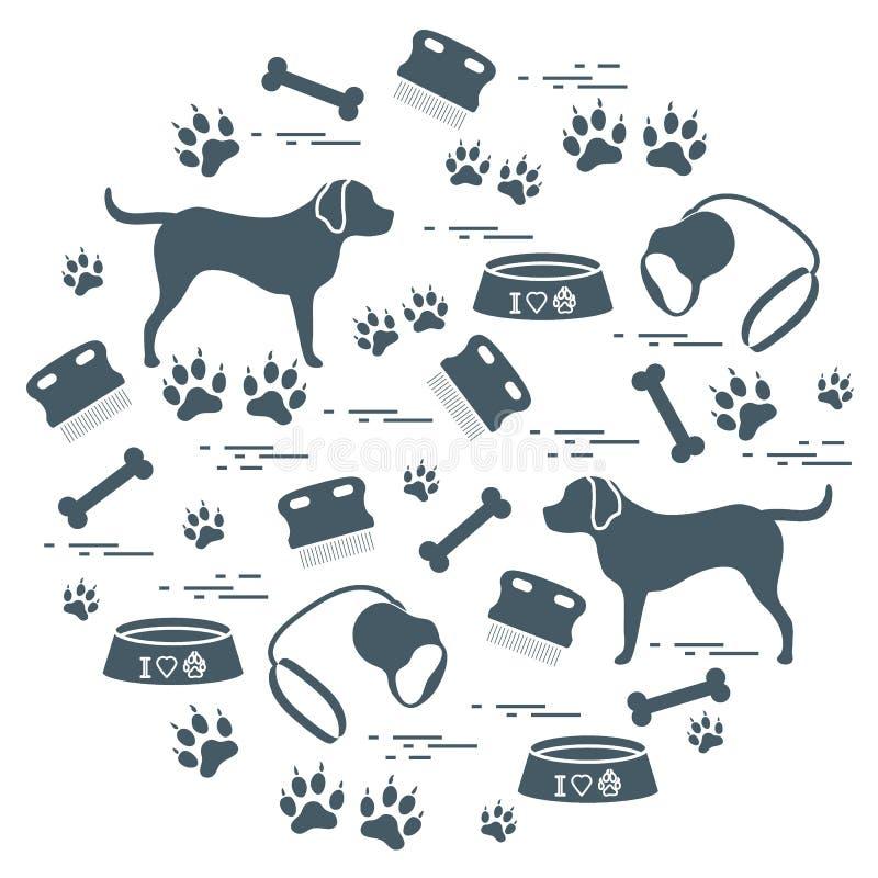 Os bens bonitos da ilustração do vetor a importar-se com cães arranjaram em um ci ilustração stock