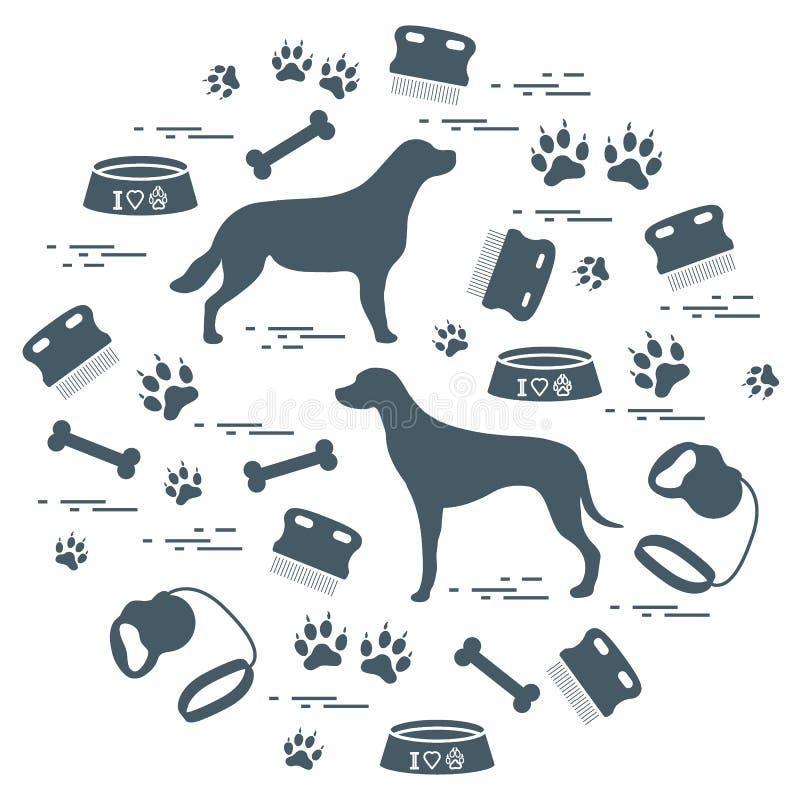 Os bens bonitos da ilustração do vetor a importar-se com cães arranjaram em um ci ilustração do vetor