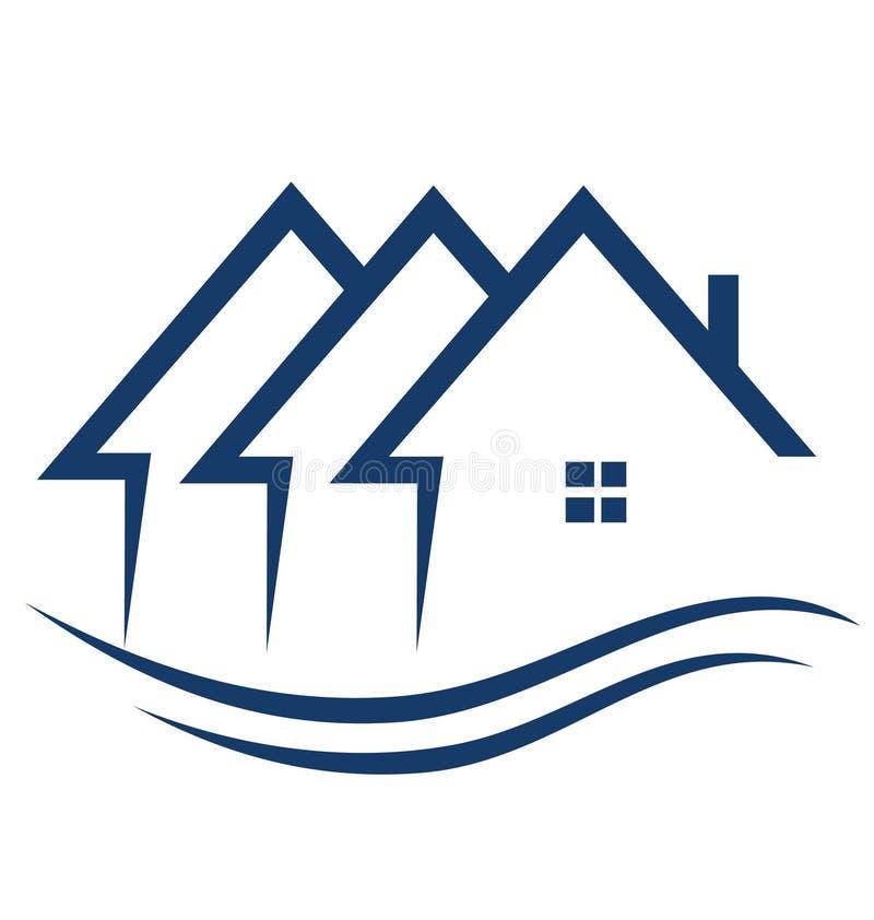 Os bens imobiliários abrigam o logotipo ilustração do vetor