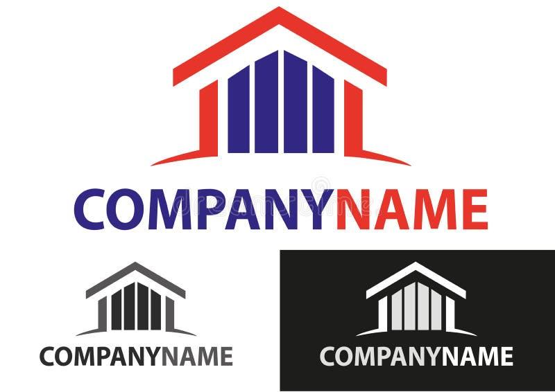 Os bens imobiliários abrigam o logotipo ilustração stock