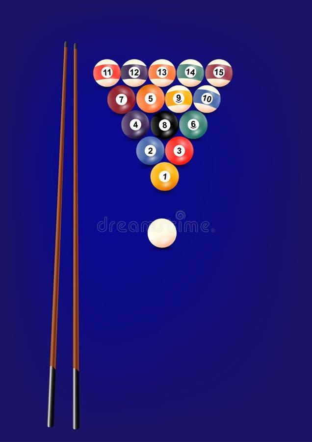 Os bilhar ou as bolas da sinuca ajustaram-se no fundo azul, ilustração do vetor ilustração royalty free