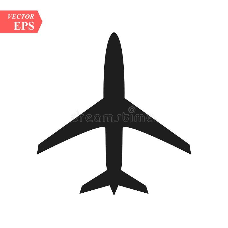 Os bilhetes do voo do avião arejam o elemento da silhueta da decolagem do curso da mosca Símbolo plano Ícone do curso Projeto lis ilustração stock