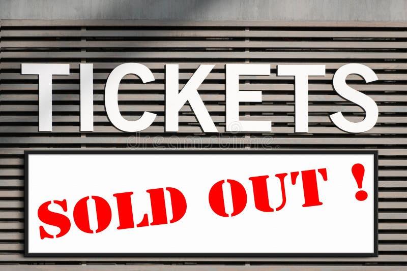 Os bilhetes venderam para fora a informação no sinal do quiosque do bilhete imagem de stock