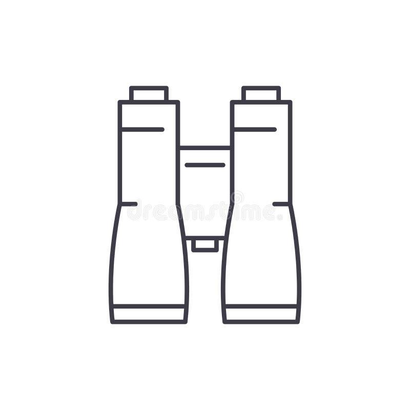 Os binóculos do negócio alinham o conceito do ícone Ilustração linear do vetor dos binóculos do negócio, sinal, símbolo ilustração do vetor