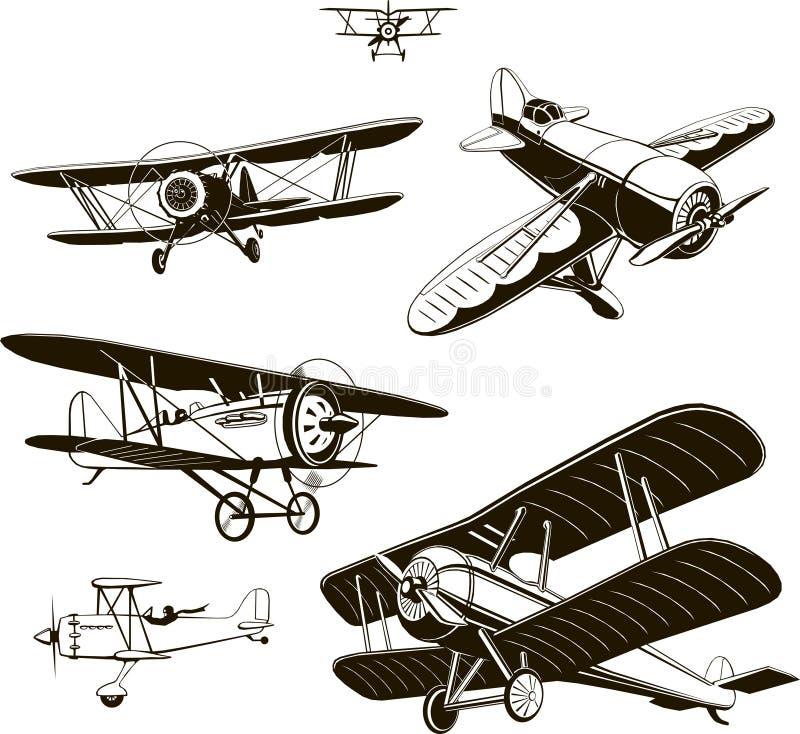 Os biplanos do vintage ajustaram o preto do vetor velho, logotipo, emblema, etiqueta ilustração royalty free