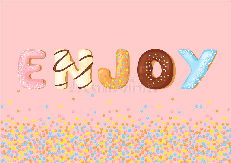 Os biscoitos deliciosos com letra simples desfrutam vetor Fonte de desenho animado doce Design de tipografia de pão creativo ilustração stock