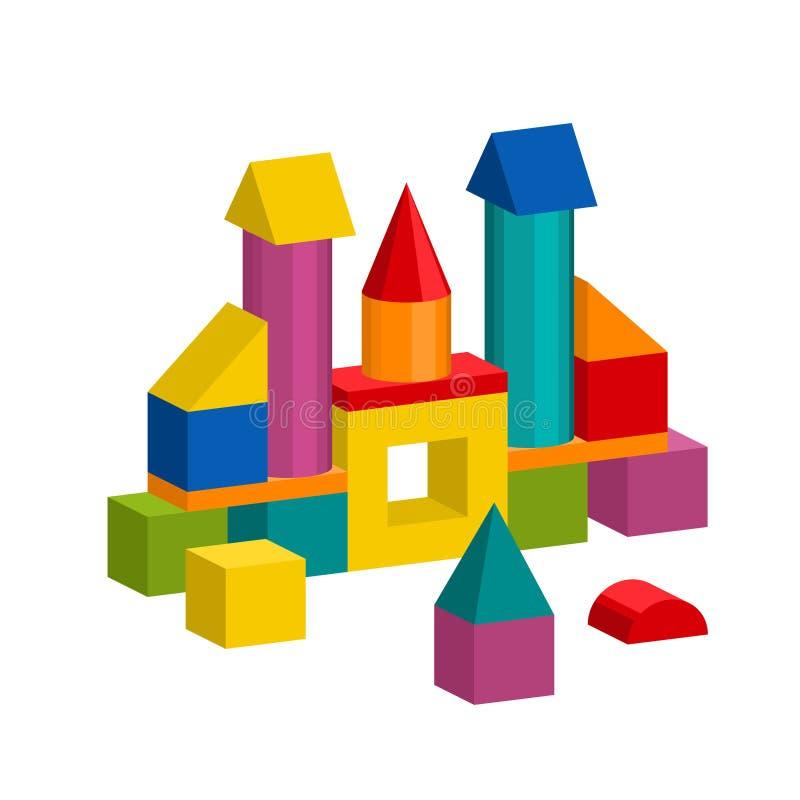 Os blocos coloridos brincam a torre da construção, castelo, casa ilustração stock