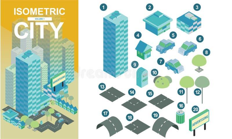 Os blocos de cidade isométricos lisos com estradas e estradas transversaas vector a ilustração volume1 imagens de stock