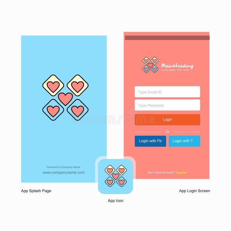 Os blocos de corações da empresa espirram o projeto da tela e da página do início de uma sessão com o molde do logotipo r ilustração do vetor