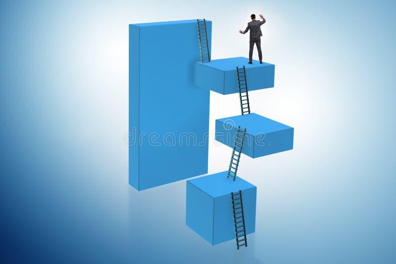 Os blocos de escalada do homem de negócios no conceito do negócio da escada da carreira fotos de stock