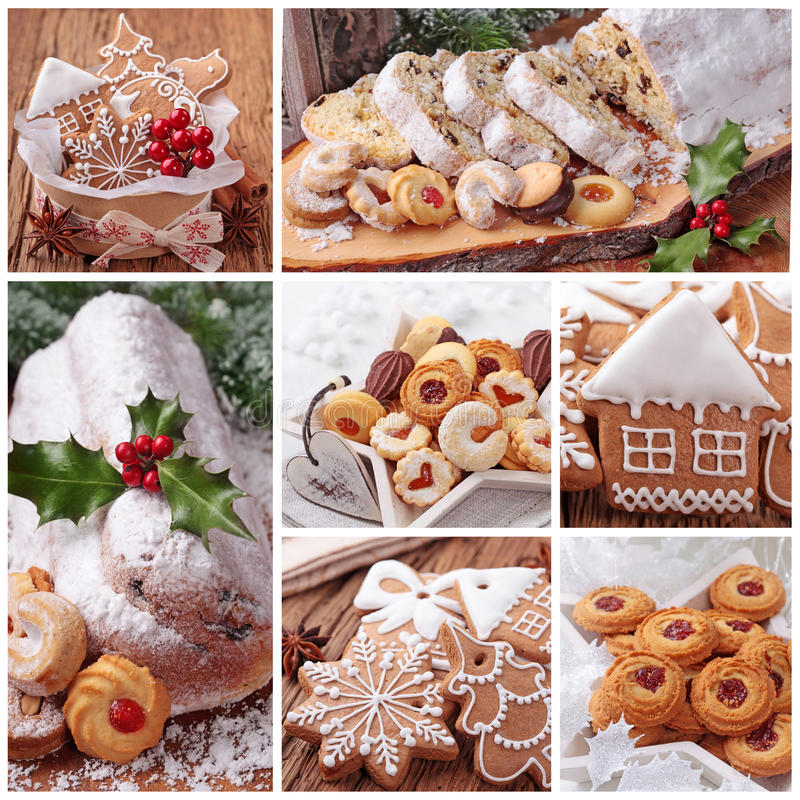 Os bolinhos do pão-de-espécie do Natal e stollen o bolo imagem de stock