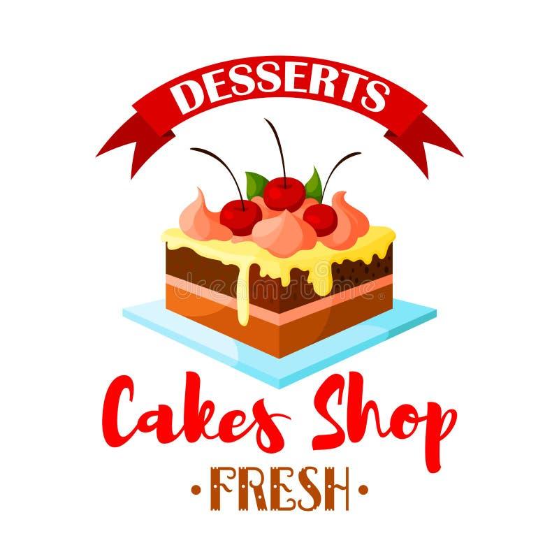 Os bolos compram, ícone do vetor da sobremesa da pastelaria ou emblema ilustração do vetor