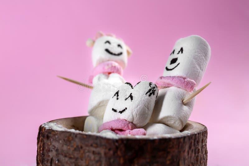 Os bonecos de neve bonitos fizeram do marshmallow saboroso no fundo da cor foto de stock